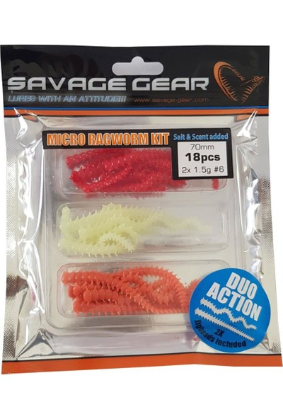 Savage gear Lrf Ragworm Kit 18+2 Adet UV-Red-Pink-Glow