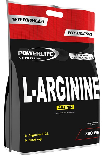 Powerlife Nutrition L-Arginine HCL 390 gr ARG Arjinin Powder