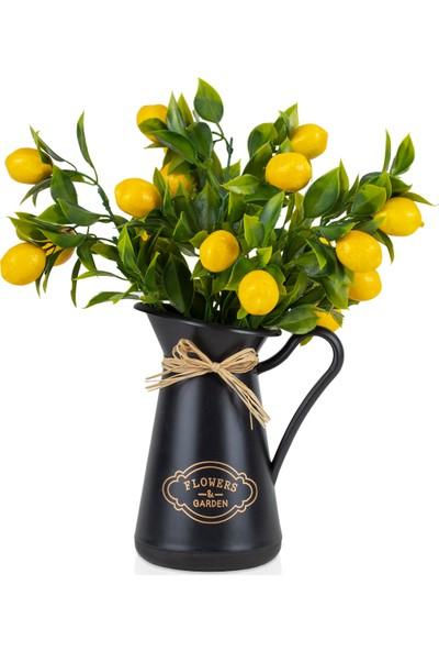 Çiçekmisin Italyan Style Flowers Garden Saksıda Limon Demet Yapay Bitki