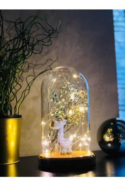 By-Lamp Işıklı Cam Fanus Mavi Zürafa ve Çiçek Figürlü Lamba