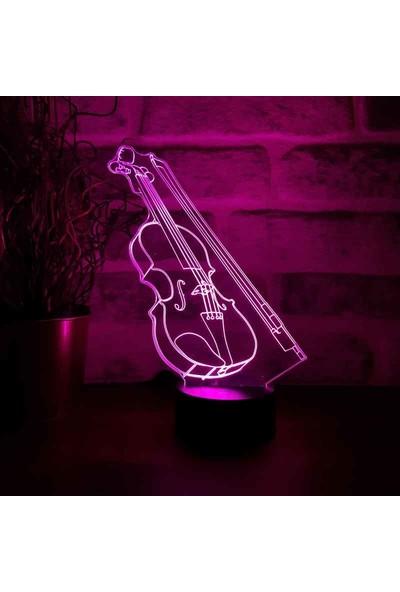 By-Lamp 3D Keman Lamba 7 Farklı Işık Rengi