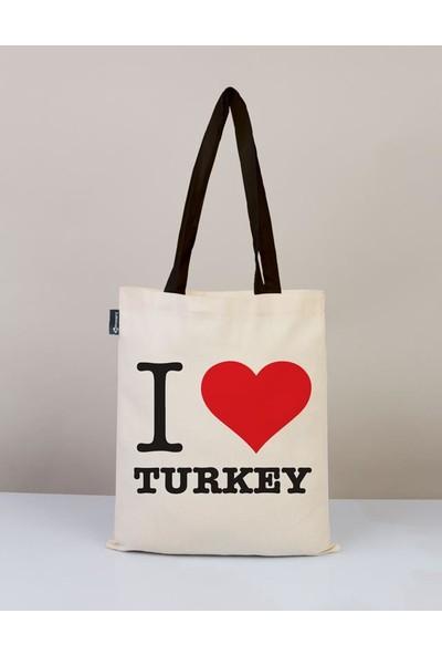 Bammerz Gabardin Siyah Kulp 35X40 cm I Love Turkey Bez Çanta