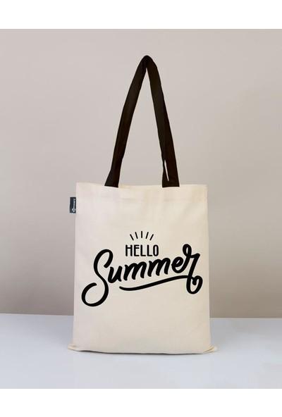 Bammerz Gabardin Siyah Kulp 35X40 cm Hello Summer Bez Çanta