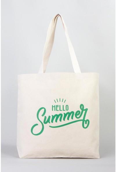 Bammerz Kanvas İç Cepli Örgü Kulp Yeşil Summer