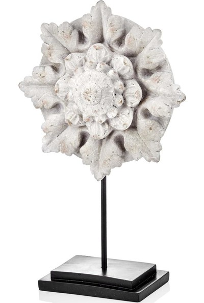 The Mia Biblo Çiçek Standlı B - 33 cm Eskitme Krem