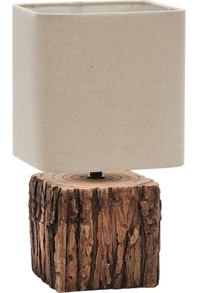 Wind Lighting Woody Abajur E14 On / Off Düğmeli 1,5 m Kablolu Odun Görünümlü Krem