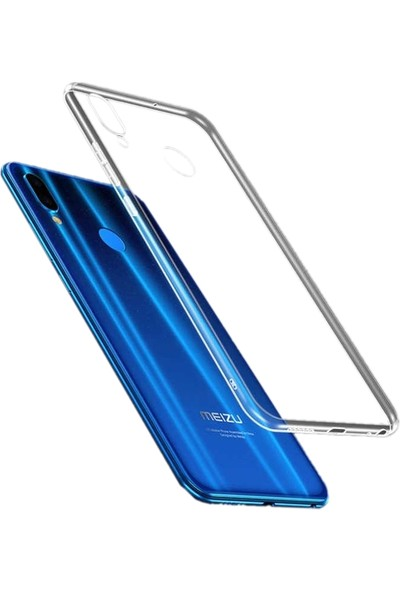 Tekno Grup Meizu Note 9 Silikon Kılıf Şeffaf + Cam Ekran Koruyucu Şeffaf