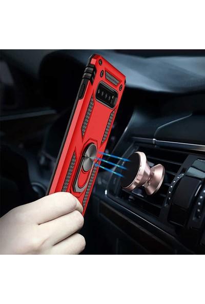 CoverZone Huawei Y9 Prime 2019 Standlı Yüzük Tutuculu Kılıf Kırmızı