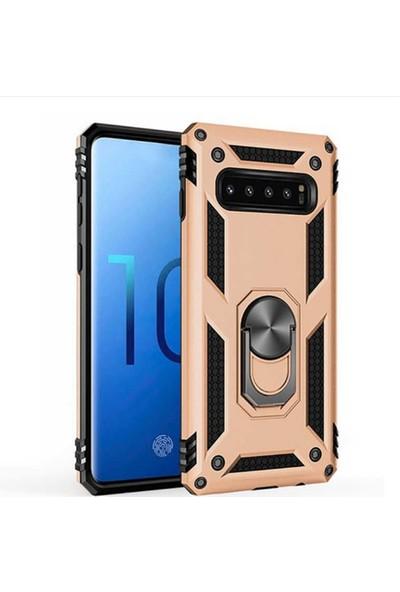 CoverZone Huawei Y9 Prime 2019 Kılıf Shockproof Standlı Yüzük Tutuculu + Nano Glass + Dokunmatik Kalem Gold