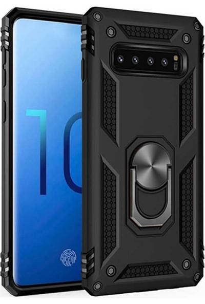CoverZone Huawei Y9 Prime 2019 Kılıf Shockproof Standlı Yüzük Tutuculu + Temperli Ekran Koruma Siyah