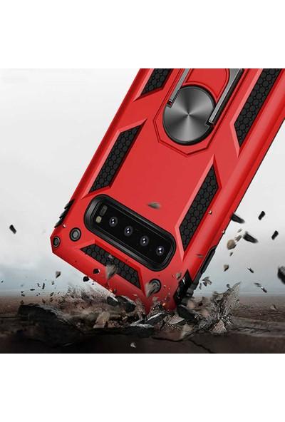 CoverZone Huawei Y9 Prime 2019 Kılıf Shockproof Standlı Yüzük Tutuculu + Temperli Ekran Koruma Lacivert