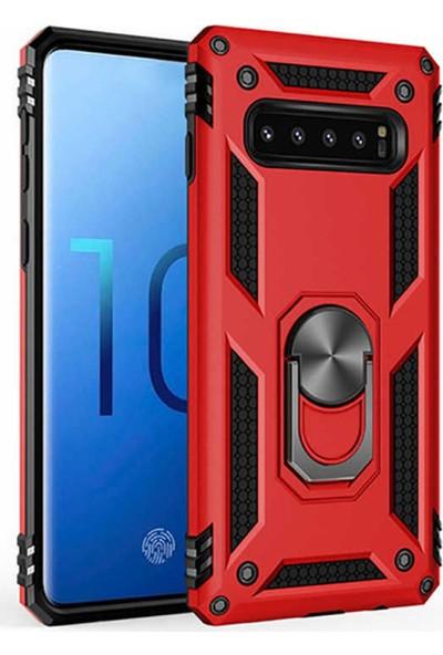 CoverZone Huawei Y9 Prime 2019 Kılıf Shockproof Standlı Yüzük Tutuculu + Temperli Ekran Koruma Kırmızı