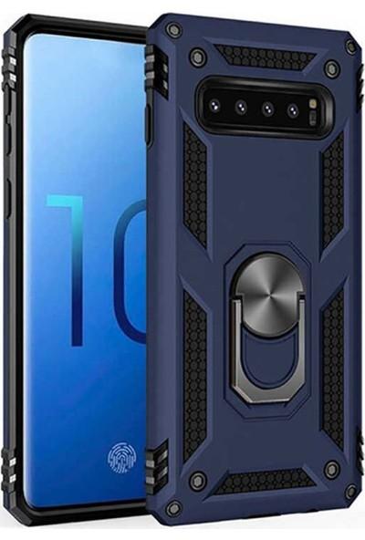 CoverZone One Plus 7 Pro Kılıf Shockproof Standlı Yüzük Tutuculu + Temperli Ekran Koruma Lacivert