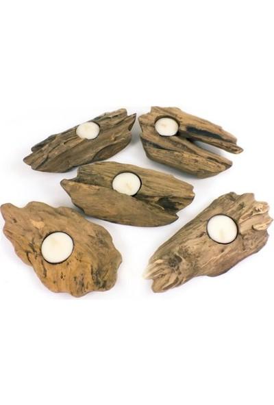 Piramigo Driftwood Tik Ağacı Mumluk - Tealight Tekli