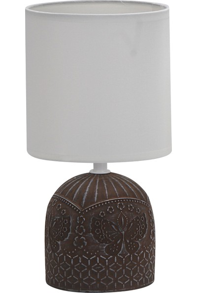 Wind Lighting Alvin Seramik Abajur, E14 Duylu, On/off Düğmeli 1,5m Kablolu, Kahve Gövde, Beyaz Şapkalı