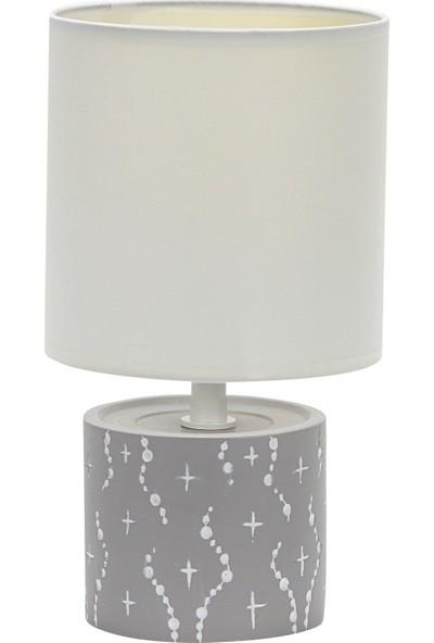 Wind Lighting Andy Seramik Abajur, E14 Duylu, On/off Düğmeli 1,5m Kablolu, Gri Gövde, Beyaz Şapkalı