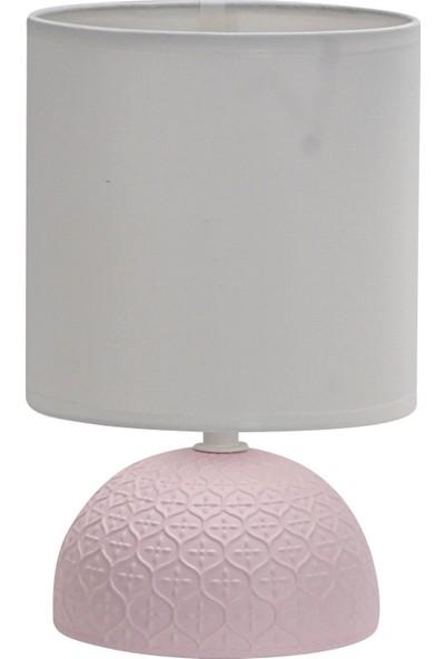 Wind Lighting Alex Seramik Abajur, E14 Duylu, On/off Düğmeli 1,5m Kablolu, Pembe Gövde, Beyaz Şapkalı