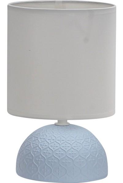 Wind Lighting Alex Seramik Abajur, E14 Duylu, On/off Düğmeli 1,5m Kablolu, Mavi Gövde, Beyaz Şapkalı