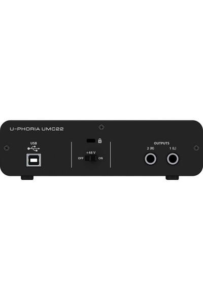 Behringer UMC22 Midas Mikrofon Preamfi 2 x 2 USB Ses Kartı