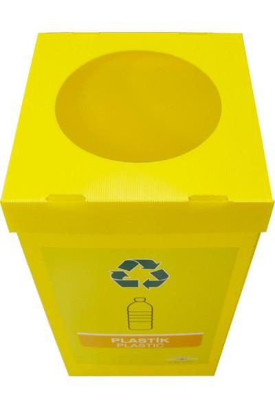 Temel Geri Dönüşüm Kutusu Sıfır Artık Kutusu Sarı Plastik