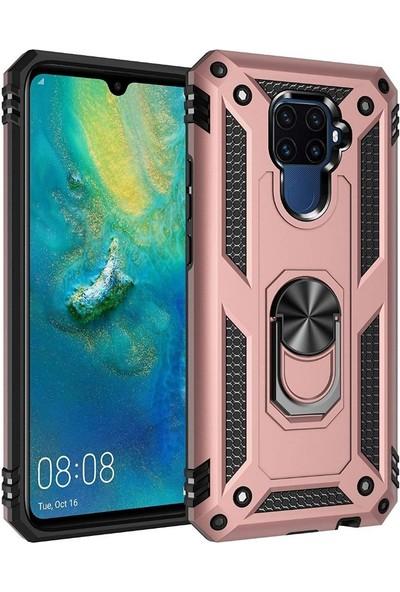 Tbkcase Huawei Mate 30 Lite Vega Yüzüklü Tank Kapak Kılıf Rose Gold + Nano Ekran Koruyucu