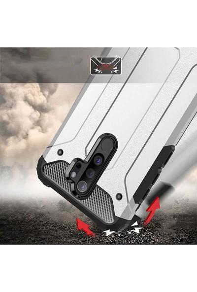 Case 4U Xiaomi Redmi Note 8 Pro Kılıf Çift Katmanlı Zırh Koruma Tank Crash Arka Kapak Siyah