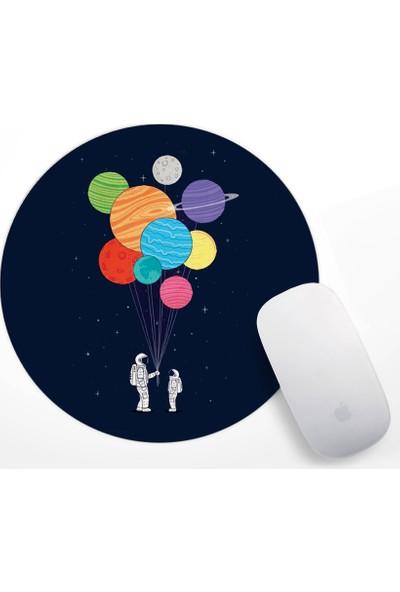 Astronot ve Gezegen Balonlar Tasarım Mouse Pad