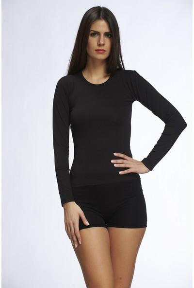 Sevim Kadın Uzun Kol Termal T-Shirt-Siyah