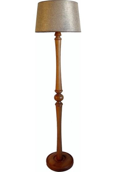 Lambada Torna Ayaklı Masif Lambader ( Bej Keten/ Açık Ceviz )