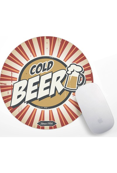 Retro Cold Beer Tasarım Mouse Pad