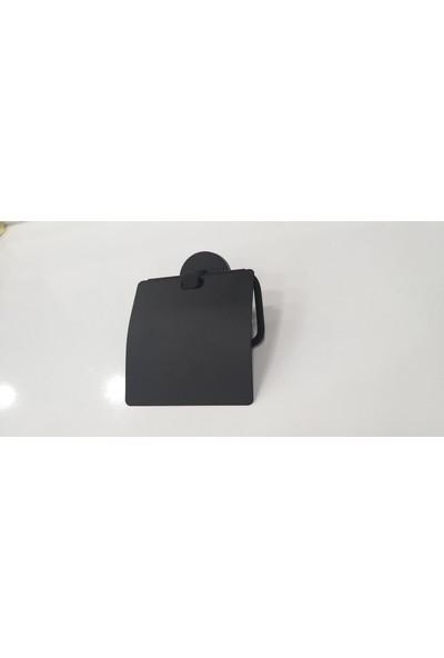 Defne Begonya Kapaklı Tuvalet Kağıtlık Mat Siyah