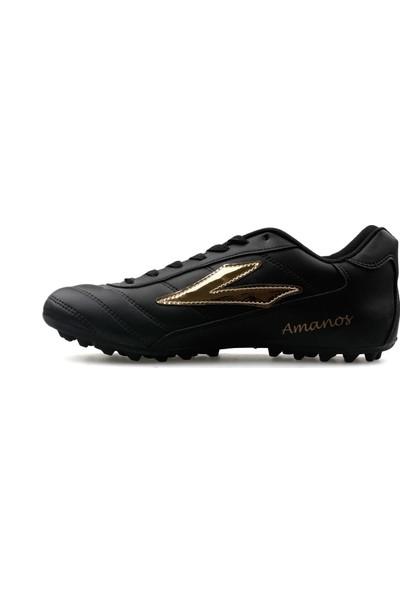Lig Spor Çocuk Halı Saha Ayakkabısı MANOS TRX Siyah ALTIN