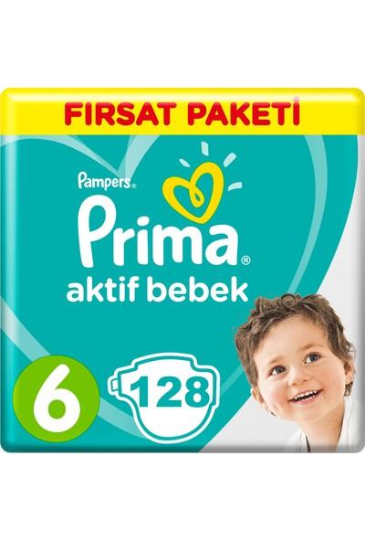 Prima Bebek Bezi Aktif Bebek 6 Beden 128 Adet Ekstra Large Aylık Fırsat Paketi Paket