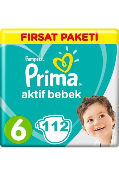 Prima Bebek Bezi Aktif Bebek 6 Beden 112 Adet Ekstra Large Aylık Fırsat Paketi Paket