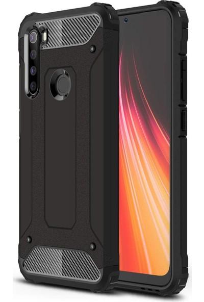 Gpack Xiaomi Redmi Note 8 Kılıf Crash Tank Çift Katman + Nano Glass Siyah