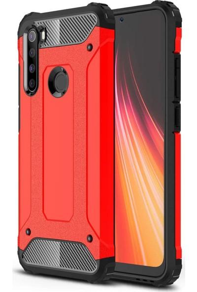 Gpack Xiaomi Redmi Note 8 Kılıf Crash Tank Çift Katman Koruyucu Kırmızı