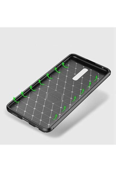 Gpack Oppo Reno Z Kılıf Negro Karbon Dizayn Silikon + Nano Glass Kahverengi