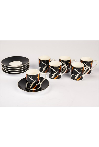 Mikasa Moor Orange Storks 6 Kişilik Kahve Fincan Seti