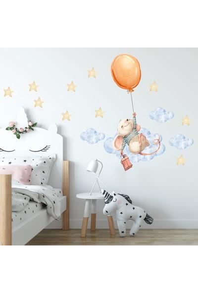 Sim Tasarım Balonlu Minik Fare Duvar Sticker Seti