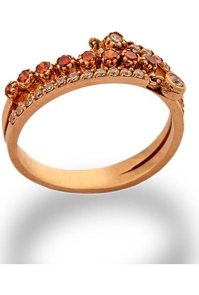 Dal Kuyumculuk 14 Ayar Rose Altın Roberto Orange Star Yüzük