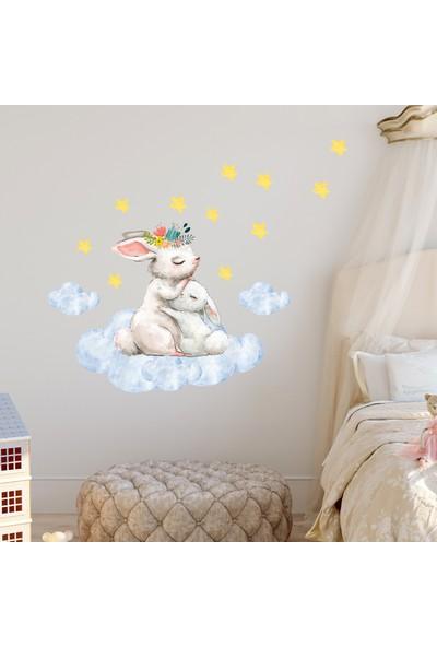 Sim Tasarım Annesi Yavrusu Tavşancıklar Duvar Sticker Seti