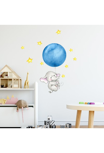 Sim Tasarım Mavi Balonlu Sevimli Fil Duvar Sticker Seti