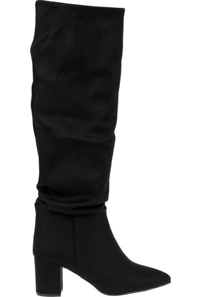 Shalin Kadın Çizme 10500 Siyah Süet