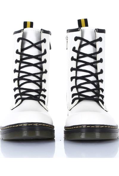 Sothe DM-2019 Beyaz Deri Bağcıklı Bot Postal Kadın Ayakkabı