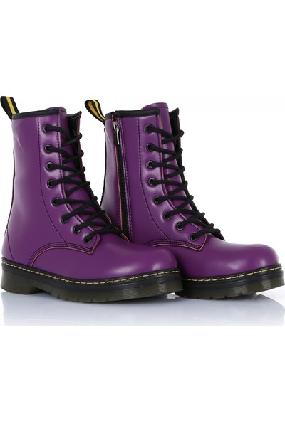 Sothe DM-2019 Mor Deri Bağcıklı Bot Postal Kadın Ayakkabı