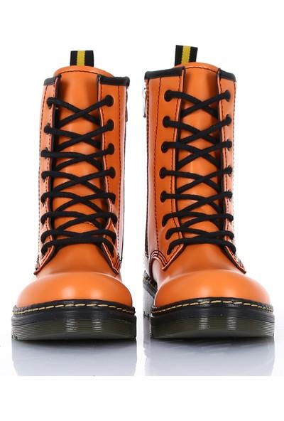 Sothe DM-2019 Oranj Deri Bağcıklı Bot Postal Kadın Ayakkabı