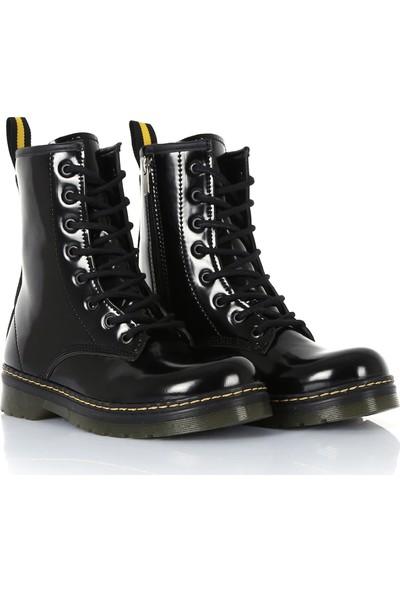 Sothe DM-2019 Siyah Rugan Bağcıklı Bot Postal Kadın Ayakkabı