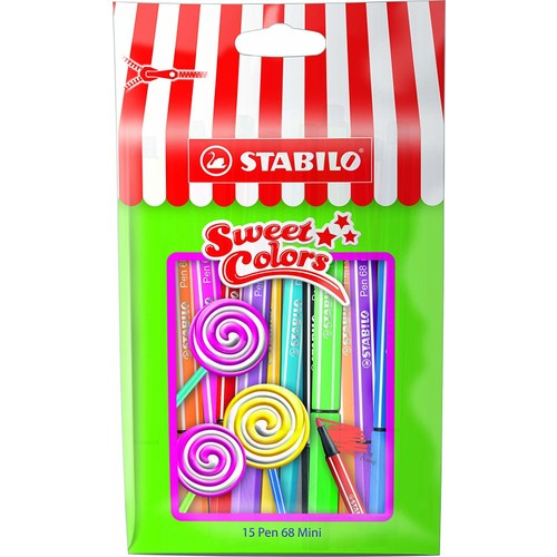 Stabilo Pen 68 Mini Sweet Colors 15'li Paket - 1 mm Uç