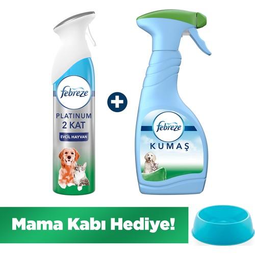 Febreze Platinum Evcil Hayvan Paketi (Hava Ferahlatıcı Sprey 300ml + Kumaş Ferahlatıcı 500ml + Mama Kabı Hediye)