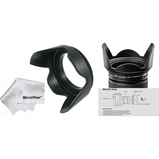 Tianya Canon 600D 650D 700D 18-55 mm Lens İçin 58 mm Yaprak Parasoley
